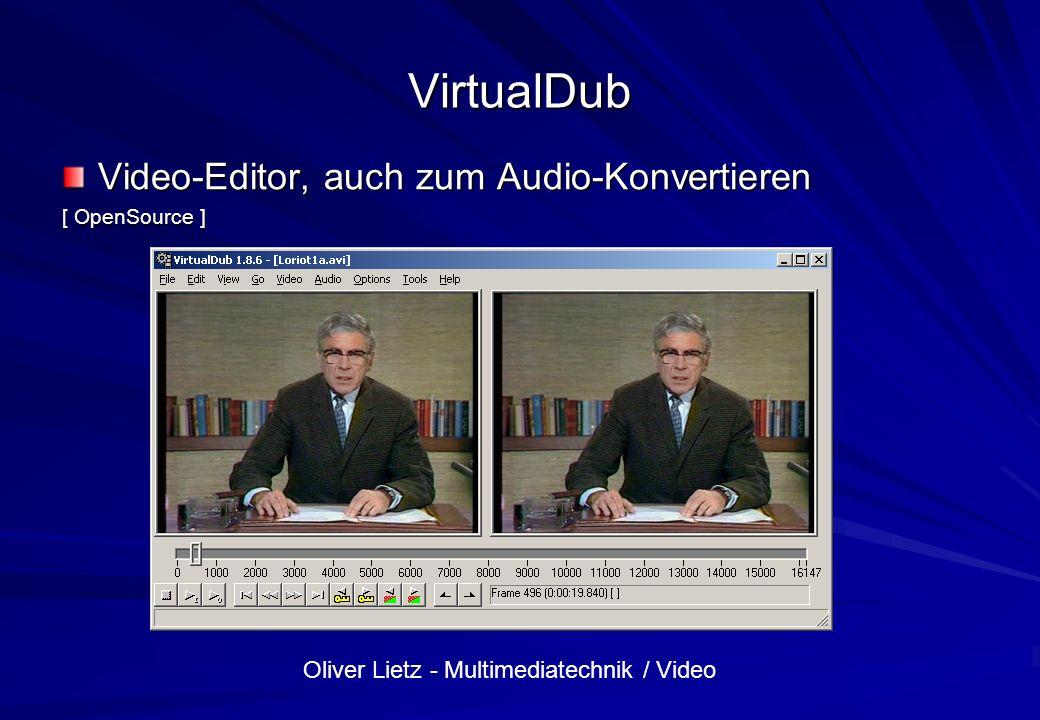 VirtualDub Video-Editor, auch zum Audio-Konvertieren [ OpenSource ]